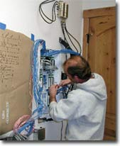 David Cressy of Last Chance Electronics installing catgory 6 wiring